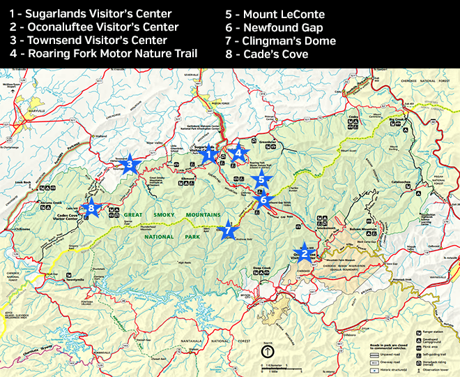 Map of Smoky Mountains National Park